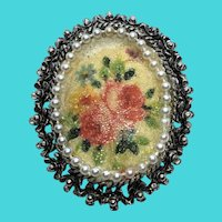 Unique Victorian Revival Coralene Sugar Coated Floral Painted Brooch / Pin