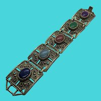 Unique Art Deco Style Sarah Coventry Thick Link Bracelet w/ Faux Gemstones