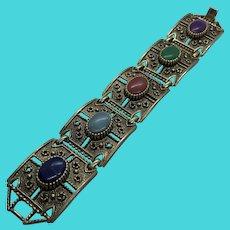 Unique Art Deco Style Sarah Coventry Thick Link Bracelet w/ Faux Gemstones