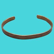 Solid Copper Vintage Skinny Cuff Bracelet - Made in England