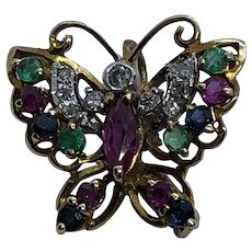 Stunning Vintage 14K Gold, Diamond, Emerald, Sapphire & Ruby Butterfly Brooch