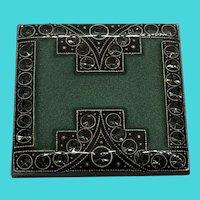 Catherine Popesco Pewter, Enamel & Paste Stone Vintage Square Art Deco Brooch