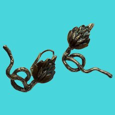 Gold Tone Enameled Vintage Thistle Leverback Pierced Earrings