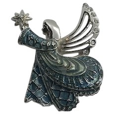 Monet Silver Tone Enameled Figural Angel Pin / Brooch w/ Rhinestone Accents
