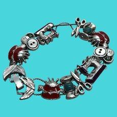 Fun Vintage Seamstress Sewing Themed Slide Charm Bracelet