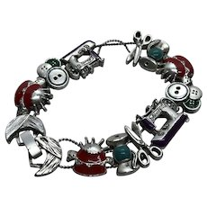 Fun Vintage Seamstress Sewing Themed Slide Charm Bracelet