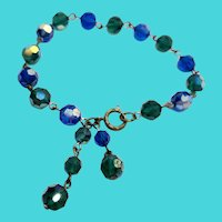 "8"" Blue & Green Sparkly Faceted Bead Bracelet"