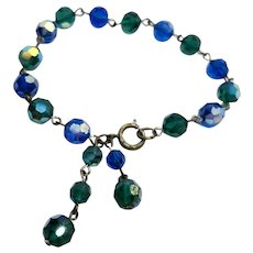 """8"""" Blue & Green Sparkly Faceted Bead Bracelet"""