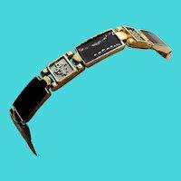 "7.5"" Gold Tone Link Bracelet with Alternating Enamel & Kanji Symbols Links"