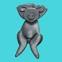 Unique Dancing Pig Articulated Pewter Brooch / Pin - Signed MALI