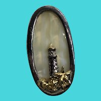 Unique Silver Plated Brooch - Mother of Pearl with Lighthouse Beach Motif