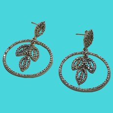 WOW! Gold Over 925 Sterling Silver Crystal Covered Dangly FAS Earrings