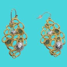 Simply Stunning Rhinestone Paved Golden Drop Dangle Earrings