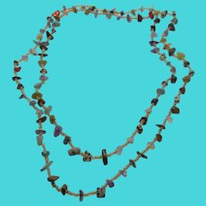 """44"""" Long Vintage Beaded Necklace with Glass Seed Beads & Various Gemstone Chips"""