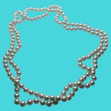 """Stunning 58"""" Strand Necklace - High Quality Faux Pearls"""