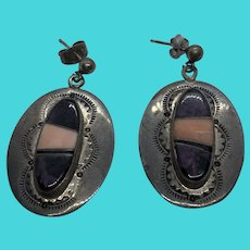 Native American Vintage Sterling Silver & Gemstone Earrings Signed J. Charley