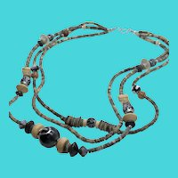 "Multi-Strand / Triple Strand Wooden Bead Vintage 24"" Necklace"
