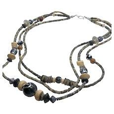 "Multi-Strand / Triple Strand Wooden Bead Vintage 24"" Necklace"