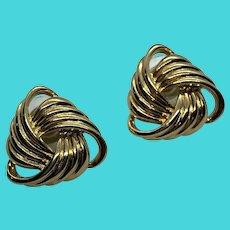Napier Vintage Gold Tone Triangle Earrings (Pierced)