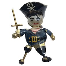 Absolutely Adorable Small Tin Peg Leg Pirate Brooch / Pin