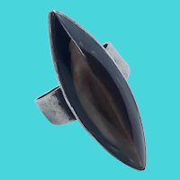 Incredible Vintage Sterling Silver Shell Statement Ring w/ Adjustable Band