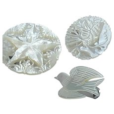 Bundle of 3 Stunning Carved Mother of Pearl Shell Brooches / Pins