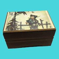 """Little Green Apples"" Hummel Small Wooden Swiss Music Box by REUGE"