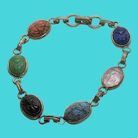 "Coro Silver Tone Colorful Glass Scarab (Faux Gemstone) 8"" Link Bracelet"