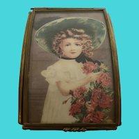 """Music Box Dancer"" Glass & Brass Picture Portrait Music Box w/ Sankyo Movement"