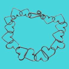 """925 Sterling Silver Heart Link Vintage Bracelet - 7.5"""""""