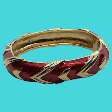 """Stunning Napier Vintage Gold Tone & Red Enamel 6.5"""" Hinge Clamper Bracelet"""