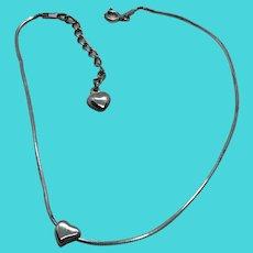 """JC Signed 925 Sterling Silver 9-10"""" Anklet / Large Bracelet with Sliding Heart Charm"""
