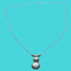 Richard Begay RB Navajo Sterling Silver Native American Opal Pendant Necklace
