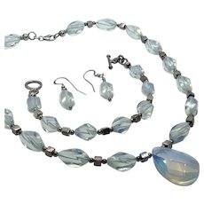 Sterling Silver & Prismatic Glass Bead Vintage Necklace, Bracelet & Earrings Set