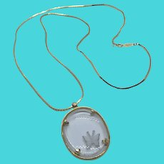 """Napier Vintage 30"""" Thin Box Chain Necklace w/ Glass Carved Butterfly Cameo Pendant"""