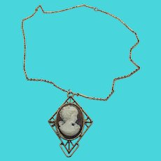 "Amazing Art Deco Mid Century 24"" Chain Necklace w/ Faux Stone Cameo Pendant"