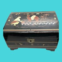 Hand Painted in Japan Black Lacquer Vintage Jewelry / Music Box