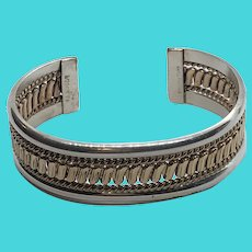 Two Tone Gold Filled & Sterling Silver Native American Tahe Signed Cuff Bracelet