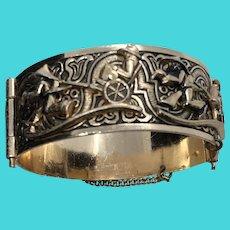Unique Vintage Aluminum Raised 3D Image Rose Gold Colored Pin Closure Cuff Bracelet