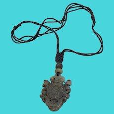 Intricately Carved Jadeite Devil & Yin Yang Gemstone Talisman Pendant Necklace