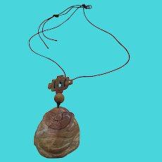 Unique Asian Carved Orange Brown Jadeite Jade Buddha Pendant On Black Necklace