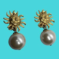 Maeve Carr Vintage Chunky Large Golden Sun & Faux Pearl Clip On Earrings