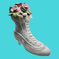 Schmid Victorian Faire Vintage Porcelain Lace Up Boot - Flower Vase - Music Box
