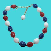 "Trifari Vintage 14-16"" Short Beaded Necklace - Red, White & Blue - Patriotic USA"