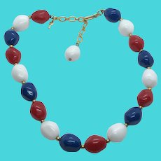 """Trifari Vintage 14-16"""" Short Beaded Necklace - Red, White & Blue - Patriotic USA"""