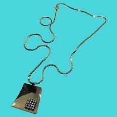 "Celebrity NY Gold Tone 24"" Chain Necklace with Rhinestone Geometric Pendant"