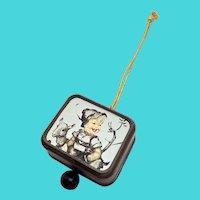 Small Wall Hanging Hummel Print Plastic Pull String Music Box - Japan
