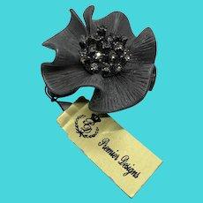 "Premier Designs Vintage Silver Gray Tone Rhinestone Flower Brooch ""Camille"""