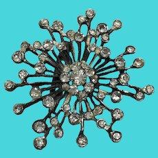 Vintage Pot Metal Silver Tone Snowflake Starburst Brooch w/ Paste Rhinestones