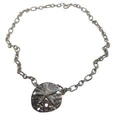 "Unique Vintage Sand Dollar Sea Star Brooch / Pendant  26"" Chain Necklace"